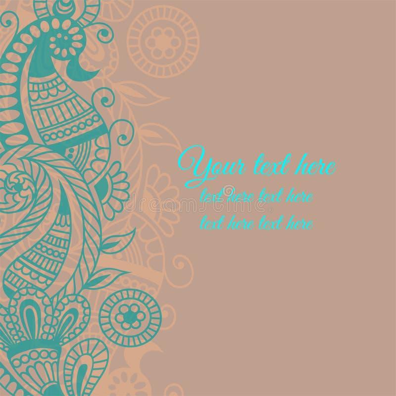 Ornamento de la flor del vector en estilo indio stock de ilustración