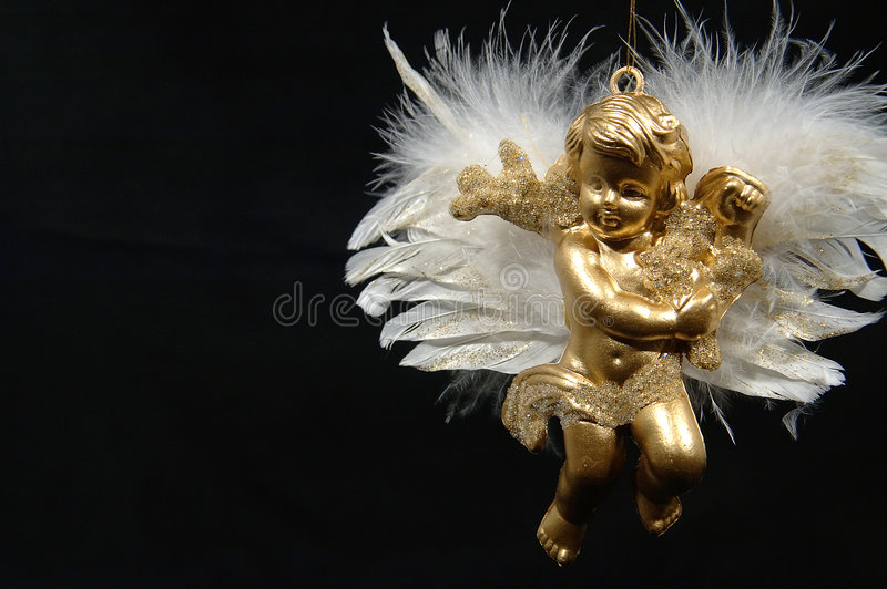 Ornamento de la Navidad - ángel de oro, parte final VI imágenes de archivo libres de regalías