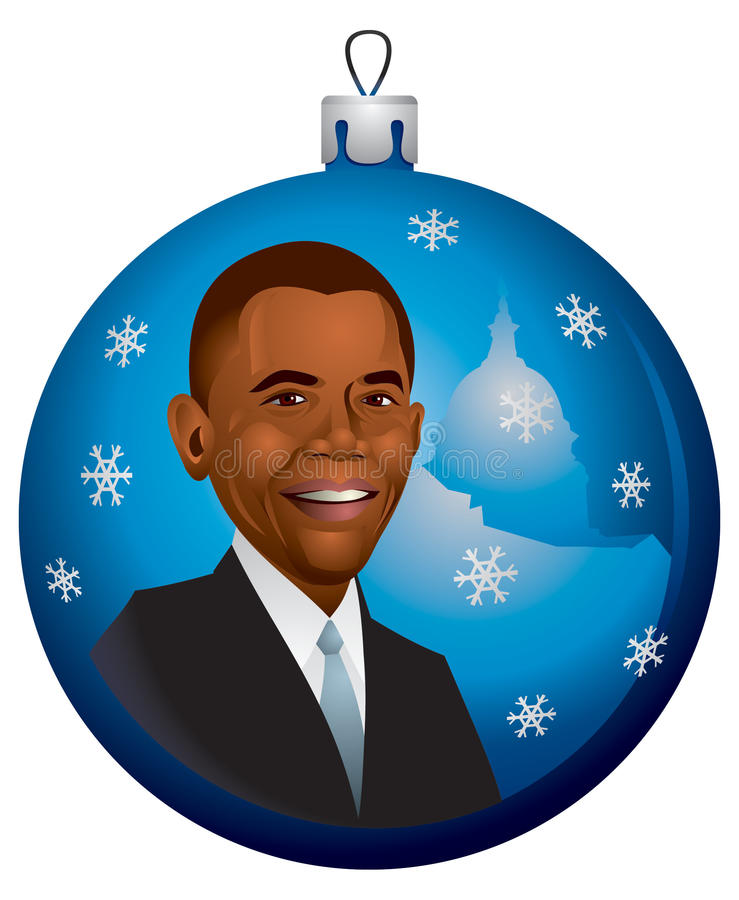 Ornamento de la Navidad de Barack Obama en vector fotografía de archivo libre de regalías