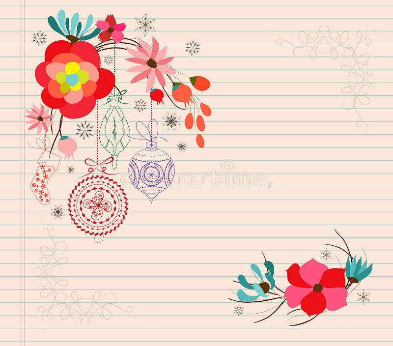 ornamento de la Navidad del garabato de la flor del drenaje de la mano ilustración del vector