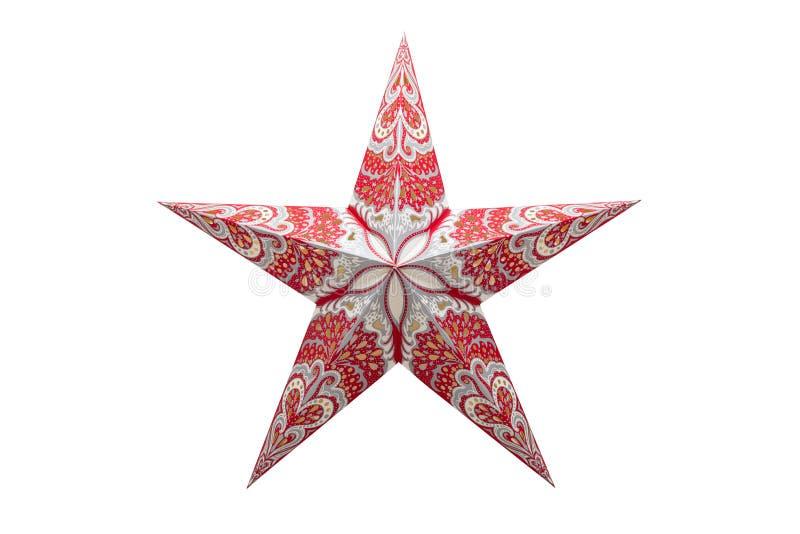 Ornamento de la Navidad, estrella cinco-acentuada rojo-blanca Aislado en un fondo blanco con un camino de recortes foto de archivo libre de regalías