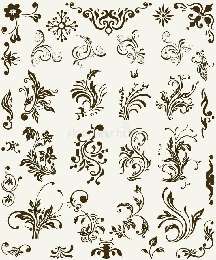 Ornamento de la silueta de la flor ilustración del vector