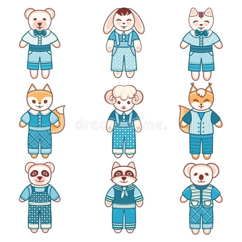 Ornamento de los animales del ` s de los niños Animal doméstico lindo del niño ilustración del vector