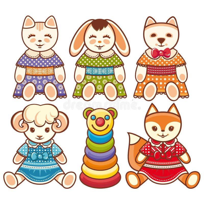 Ornamento de los animales del ` s de los niños Animal doméstico lindo del niño stock de ilustración