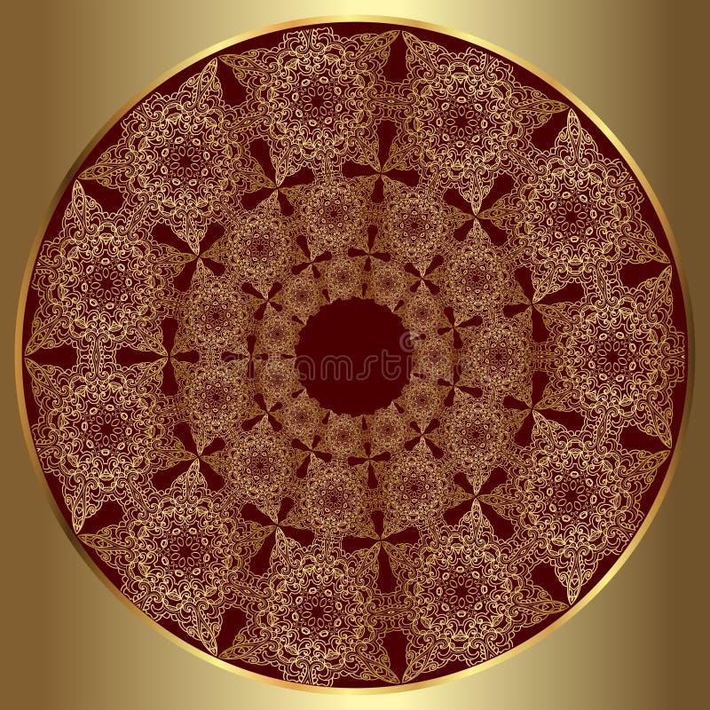 Ornamento de lujo del oro redondo stock de ilustración
