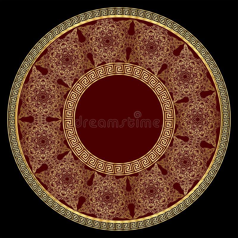 Ornamento de lujo redondo del oro stock de ilustración