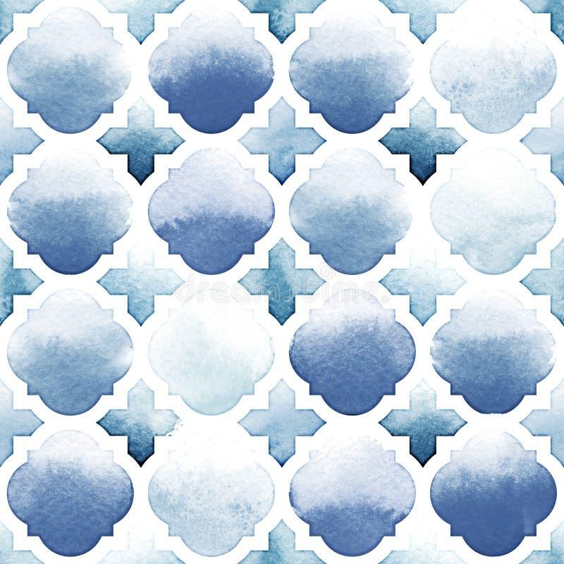 Ornamento de Morrocan de cores azuis no fundo branco Teste padrão sem emenda da aquarela Beira-rio e Airy Blue ilustração stock