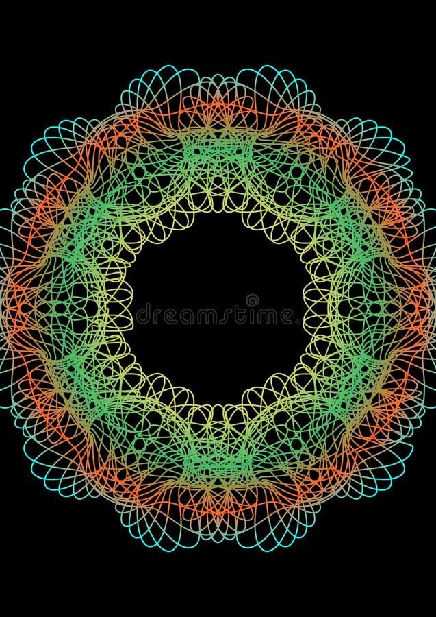 Ornamento de neón del círculo del arco iris en estilo del guilloquis en fondo negro Línea fina modelos en los colores vivos que p libre illustration