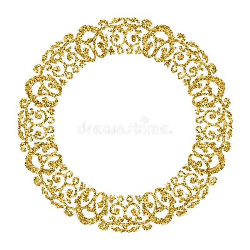 Ornamento de oro del círculo Marco redondo de la foto Brillo verde stock de ilustración