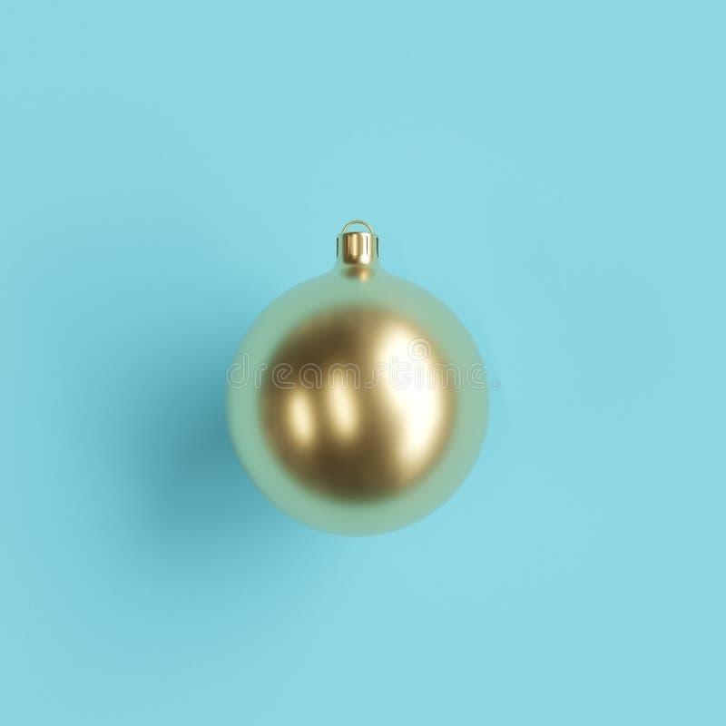 Ornamento de oro de la Navidad del vidrio del mercurio en fondo azul claro stock de ilustración