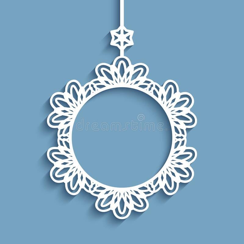 Ornamento de papel do Natal do entalhe ilustração stock