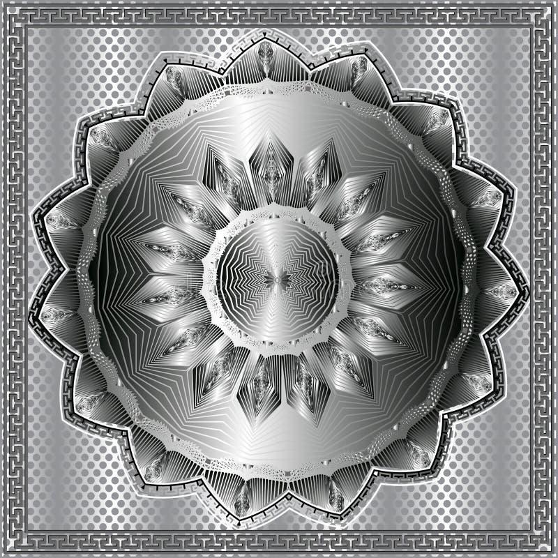 Ornamento de plata 3d de la ronda antigua Modelo del meandro del vector Fondo del lunar de la rejilla Línea moderna mandala del a libre illustration