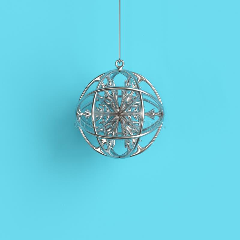 Ornamento de plata de la Navidad del copo de nieve en el vidrio de plata del mercurio en fondo azul ilustración del vector