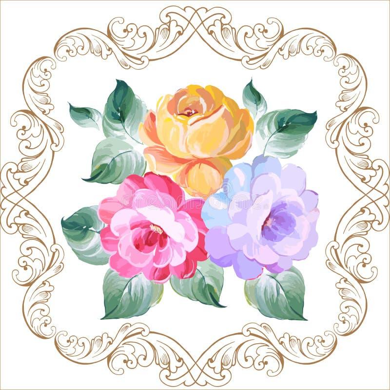 Ornamento de Rosa no estilo barroco Mãos do desenho Illustrati do vetor ilustração do vetor