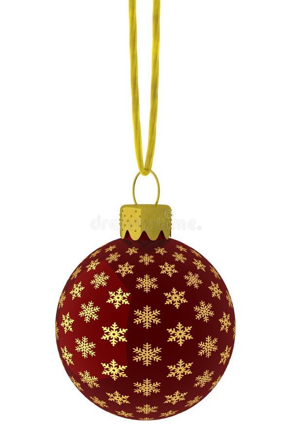 Ornamento de suspensão do floco de neve do vermelho e do ouro ilustração do vetor