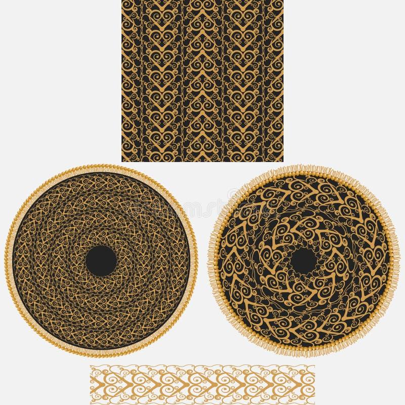 Ornamento de um grupo no estilo oriental Inclui o teste padrão quadrado sem emenda, a mandala de duas circulares e a escova model ilustração royalty free