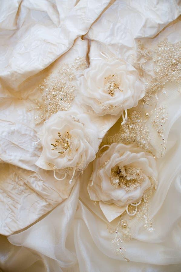 Ornamento de um vestido de casamento. fotos de stock royalty free
