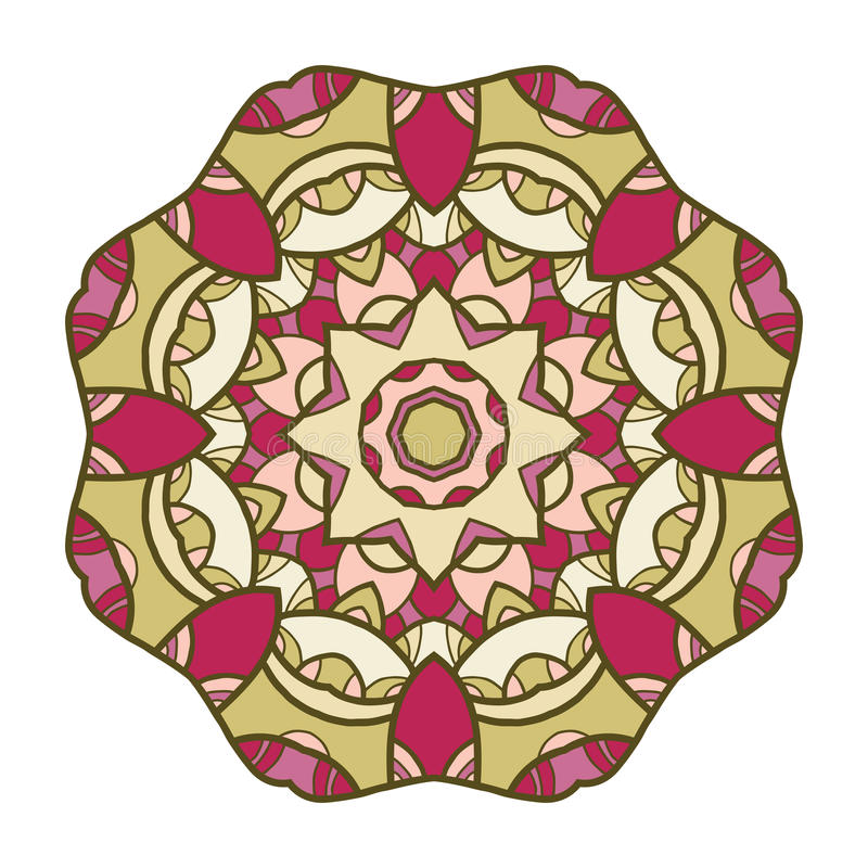 Ornamento decorativo circular, mandala, teste padrão árabe ilustração stock
