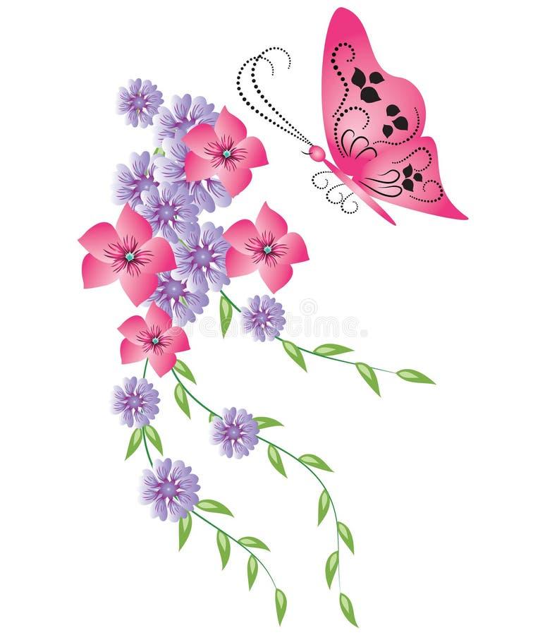 Ornamento decorativo con la farfalla illustrazione vettoriale