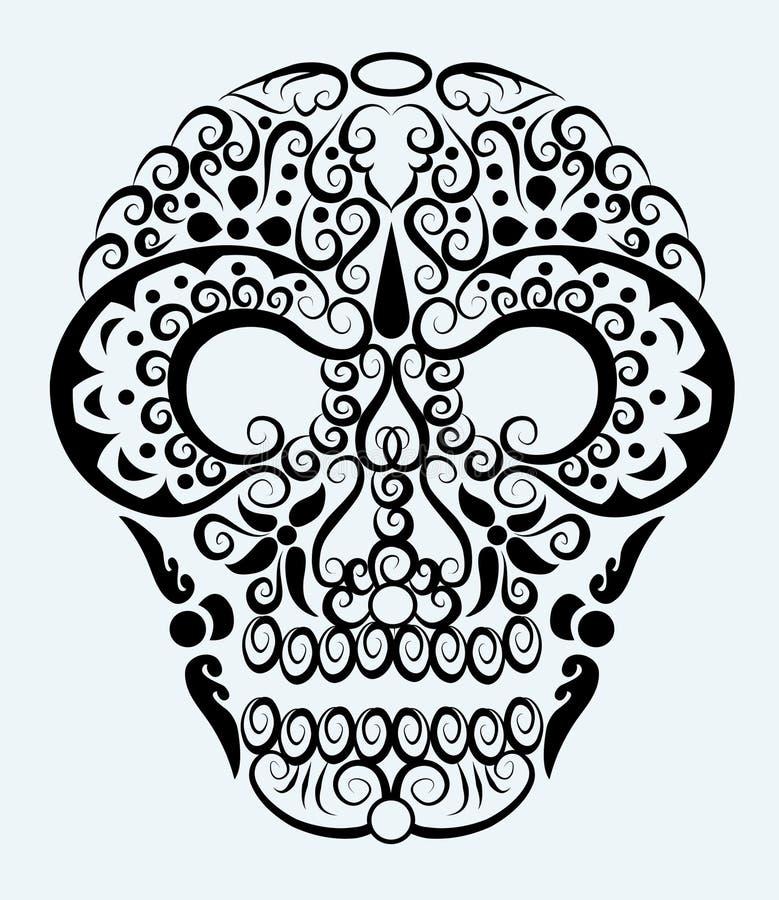 Ornamento decorativo del cráneo stock de ilustración