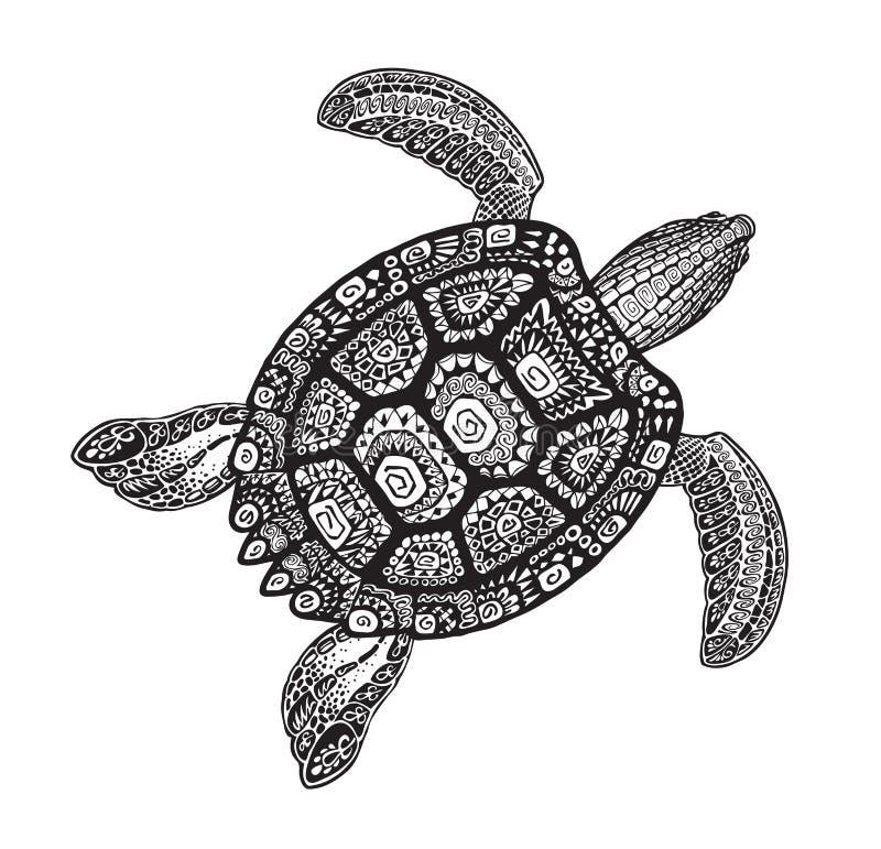 Ornamento decorativo del estilo tribal étnico de la tortuga Ilustración del vector ilustración del vector