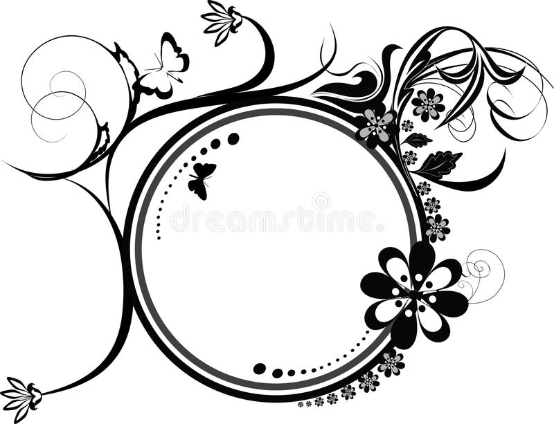 Ornamento decorativo di flourishes del cerchio illustrazione di stock