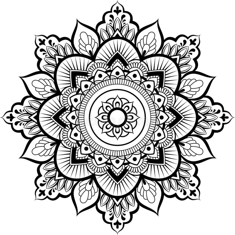 Ornamento decorativo en estilo oriental étnico Modelo circular en la forma de mandala para la alheña, Mehndi, tatuaje, decoración stock de ilustración