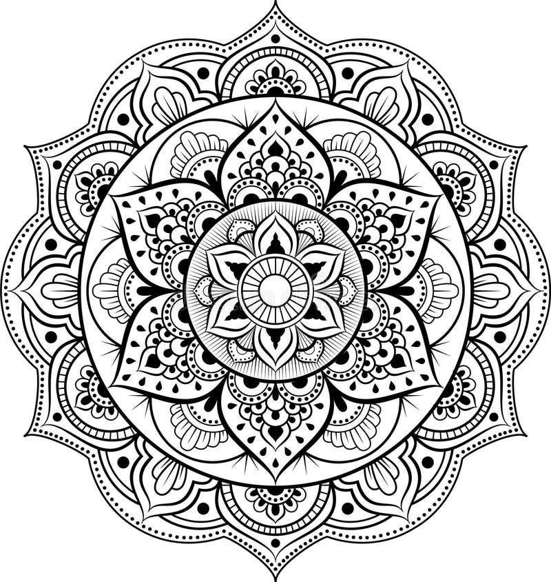 Ornamento decorativo en estilo oriental étnico Modelo circular en la forma de mandala para la alheña, Mehndi, tatuaje, decoración libre illustration