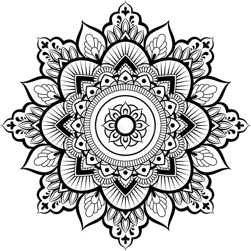 Ornamento decorativo no estilo oriental étnico Teste padrão circular no formulário da mandala para a hena, Mehndi, tatuagem, deco ilustração stock