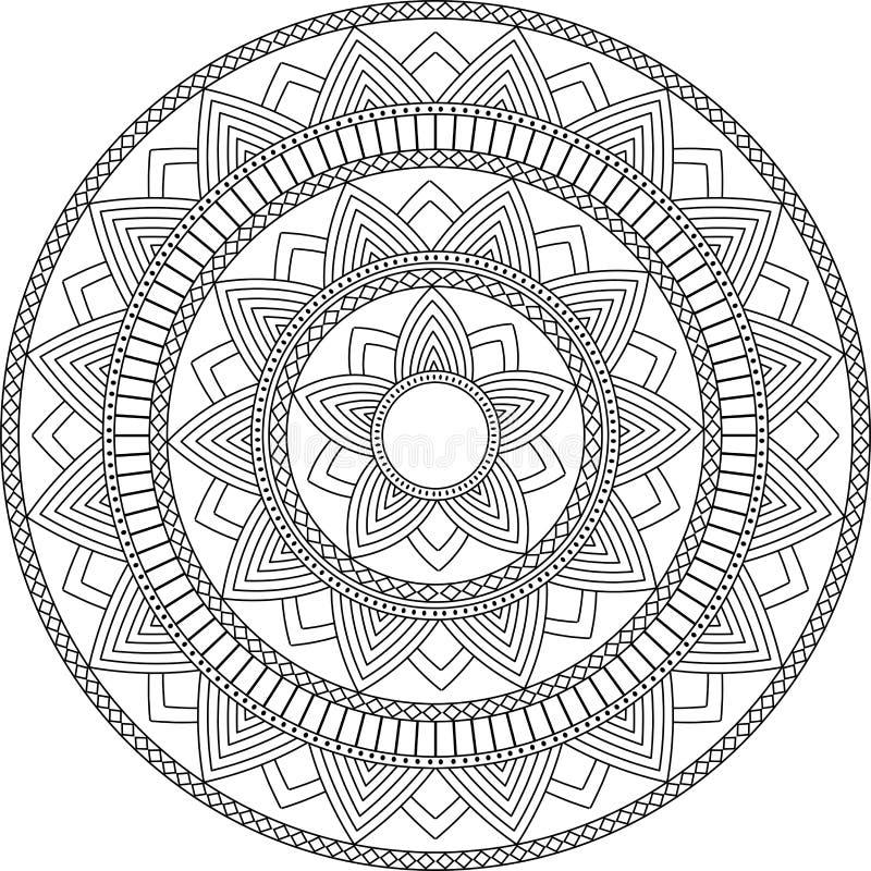 Ornamento decorativo no estilo oriental étnico Teste padrão circular Mandala para a hena, Mehndi, tatuagem, decoração ilustração do vetor