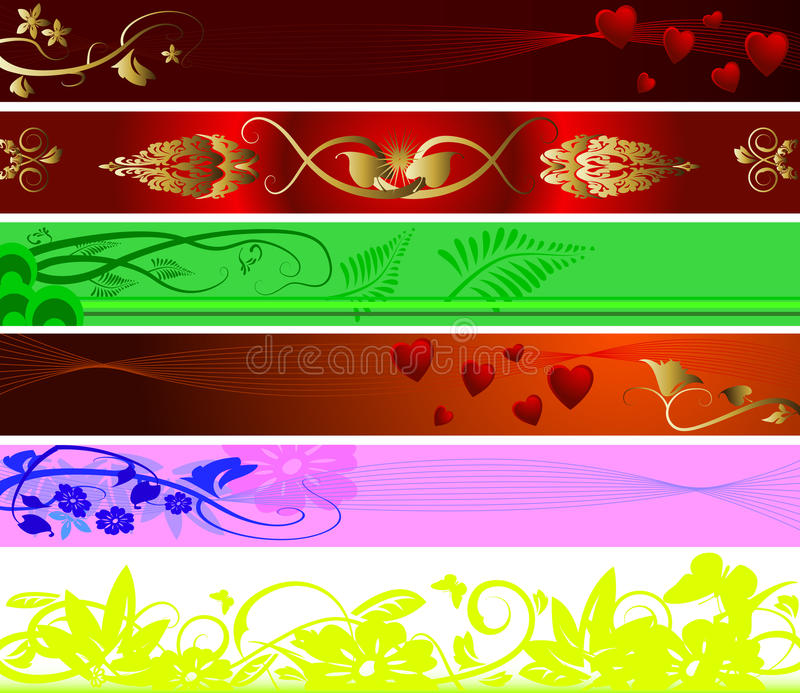 Ornamento dei biglietti di S. Valentino e floreale per priorità bassa illustrazione di stock