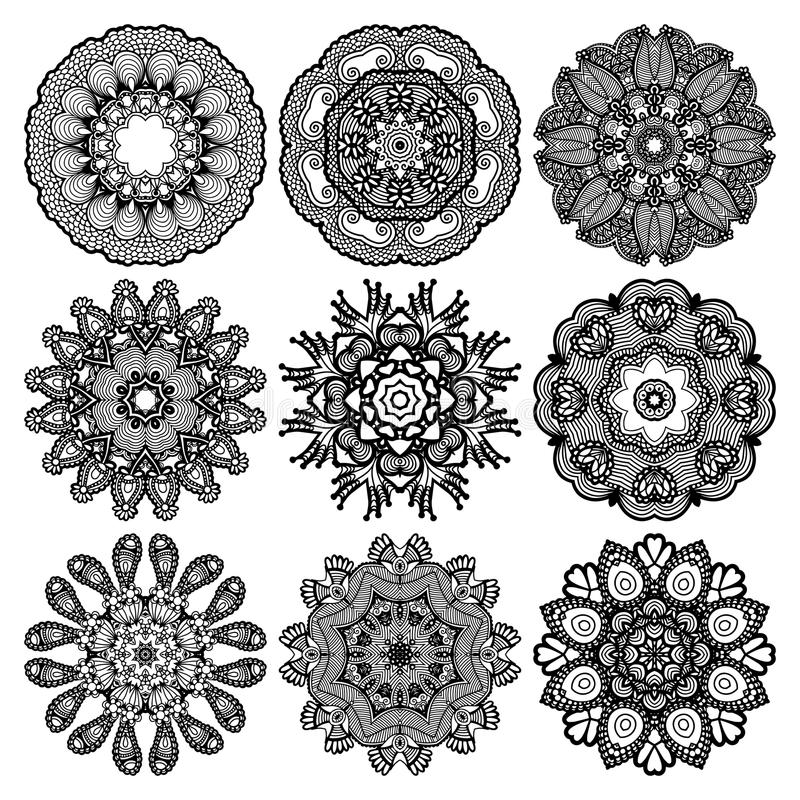 Ornamento del cerchio, raccolta rotonda ornamentale del pizzo illustrazione di stock