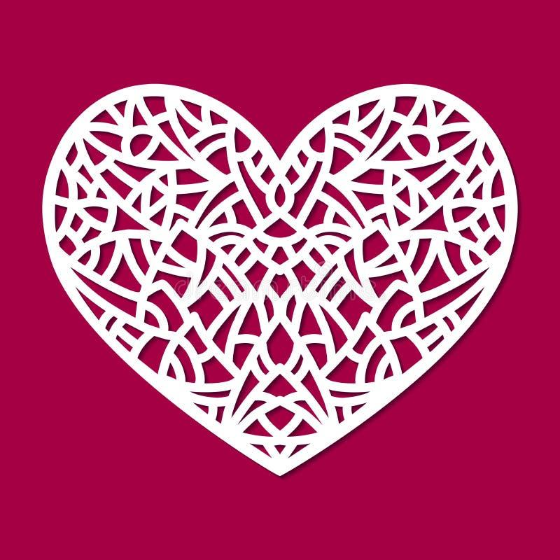 Ornamento del corazón del vector del corte del laser Silueta del modelo del recorte con formas abstractas Elemento cortado con ti ilustración del vector