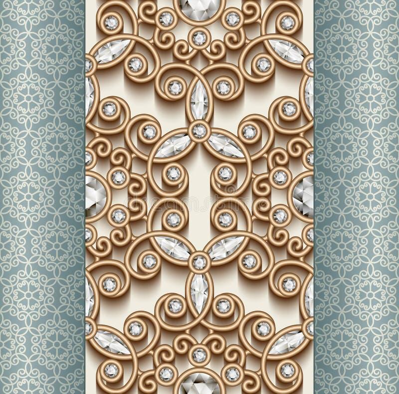 Ornamento del diamante dell'oro, modello senza cuciture illustrazione di stock