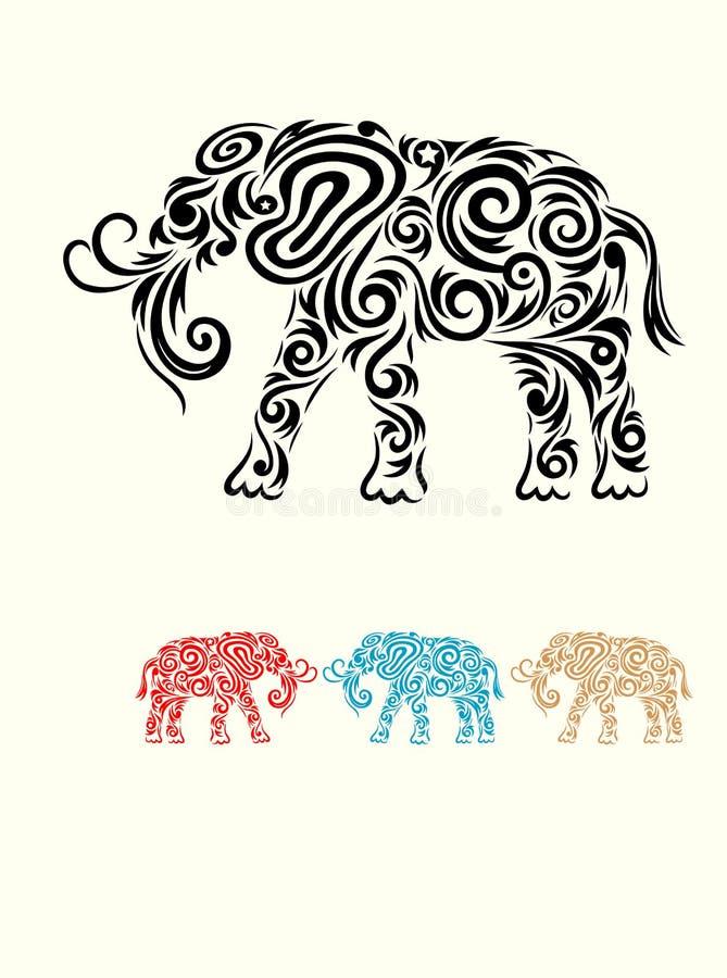 Ornamento del elefante stock de ilustración