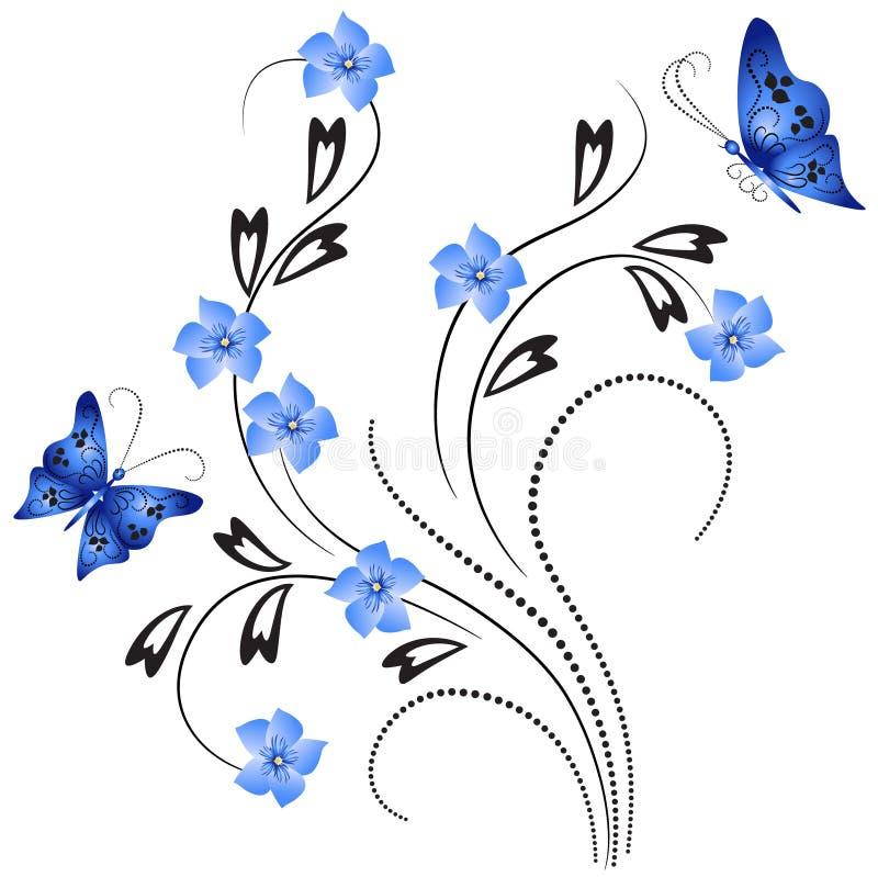 Ornamento del fiore con la farfalla royalty illustrazione gratis