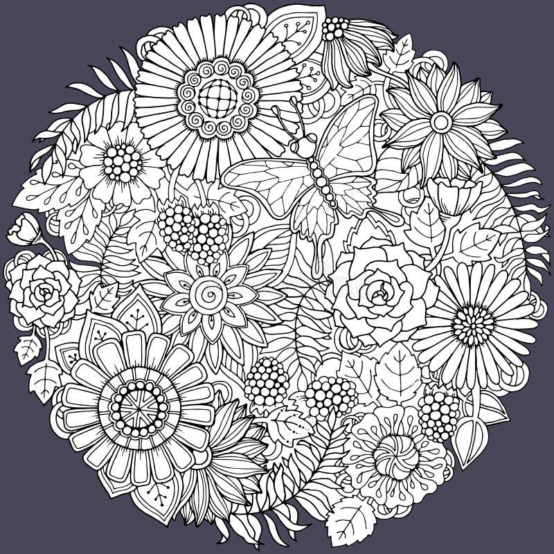 Ornamento del fiore di scarabocchio di estate del cerchio con la farfalla royalty illustrazione gratis