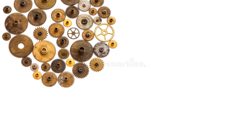 Ornamento del macchinario di Steampunk su bianco Macro vista dei denti di ingranaggi della raccolta strutturata delle ruote Copi  fotografia stock libera da diritti