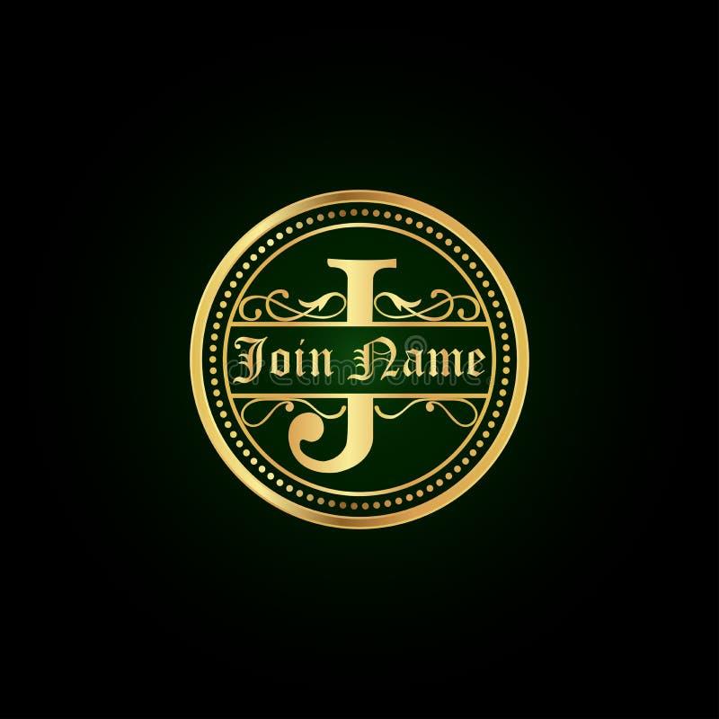 Ornamento del monogramma di llogo di J floreale royalty illustrazione gratis