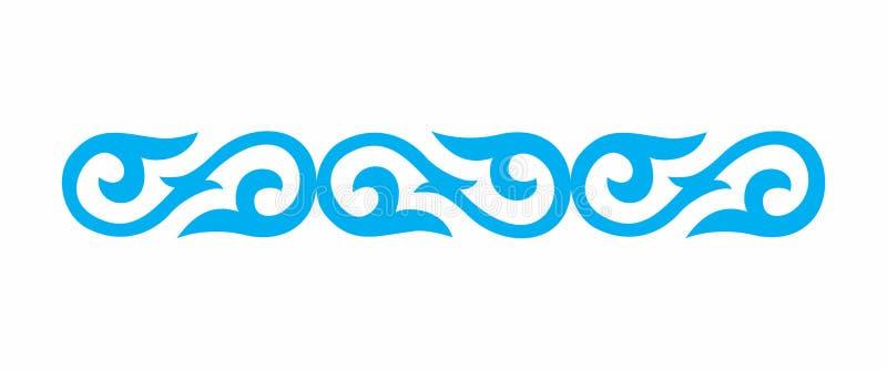 Ornamento del nacional del Kazakh Azul rojo stock de ilustración