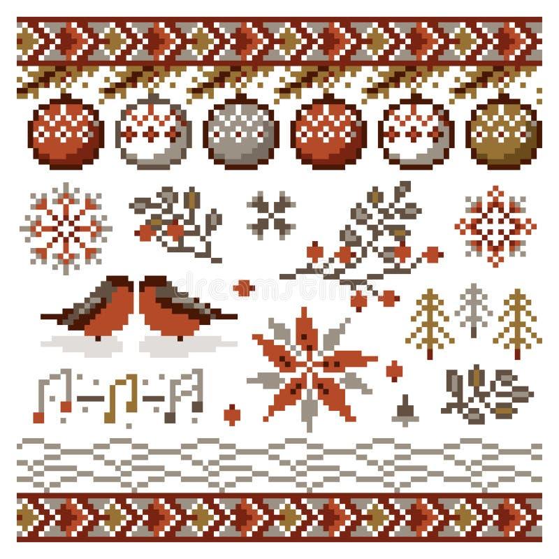Ornamento del pixel de la Navidad del extracto del vector para el bordado ilustración del vector