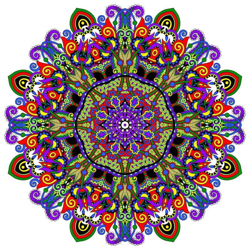 Ornamento del pizzo del cerchio, geometrico ornamentale rotondo illustrazione di stock