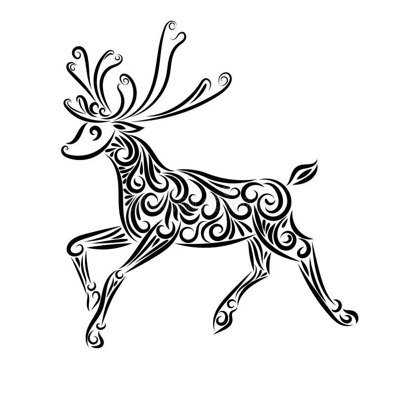 Ornamento del reno Silueta Esquema negro Navidad A?o Nuevo north Invierno tatuaje cuadro Ciervos estilizados Animales stock de ilustración