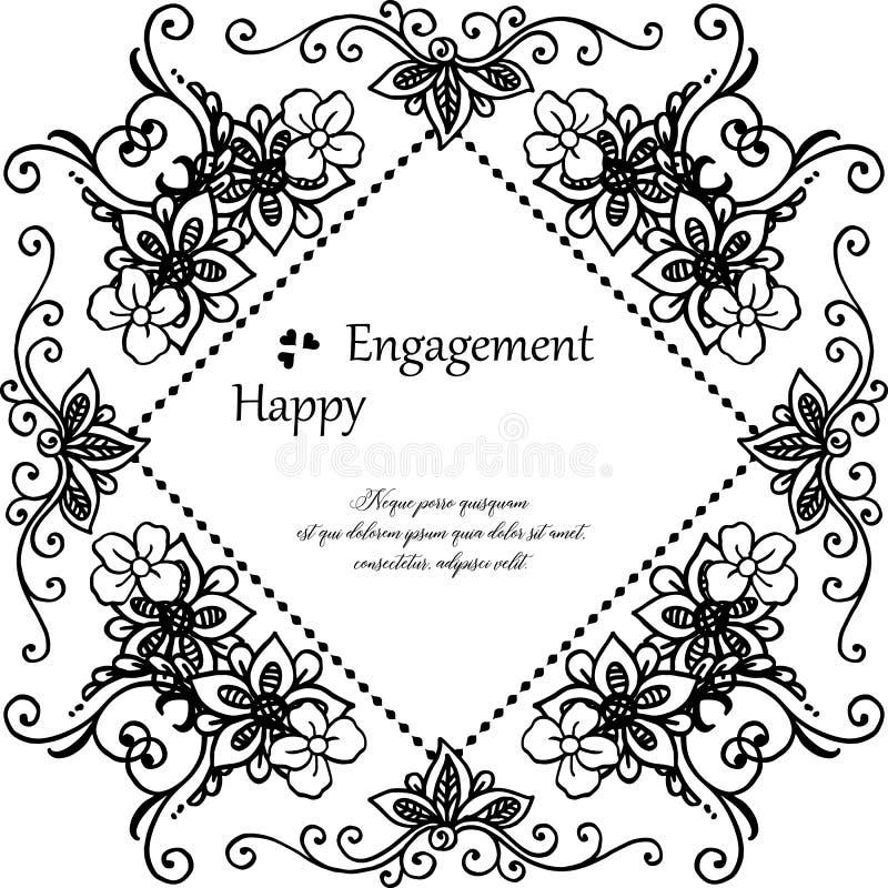 Ornamento del telaio del fiore, annata di stile, carta di progettazione dell'impegno felice Vettore royalty illustrazione gratis