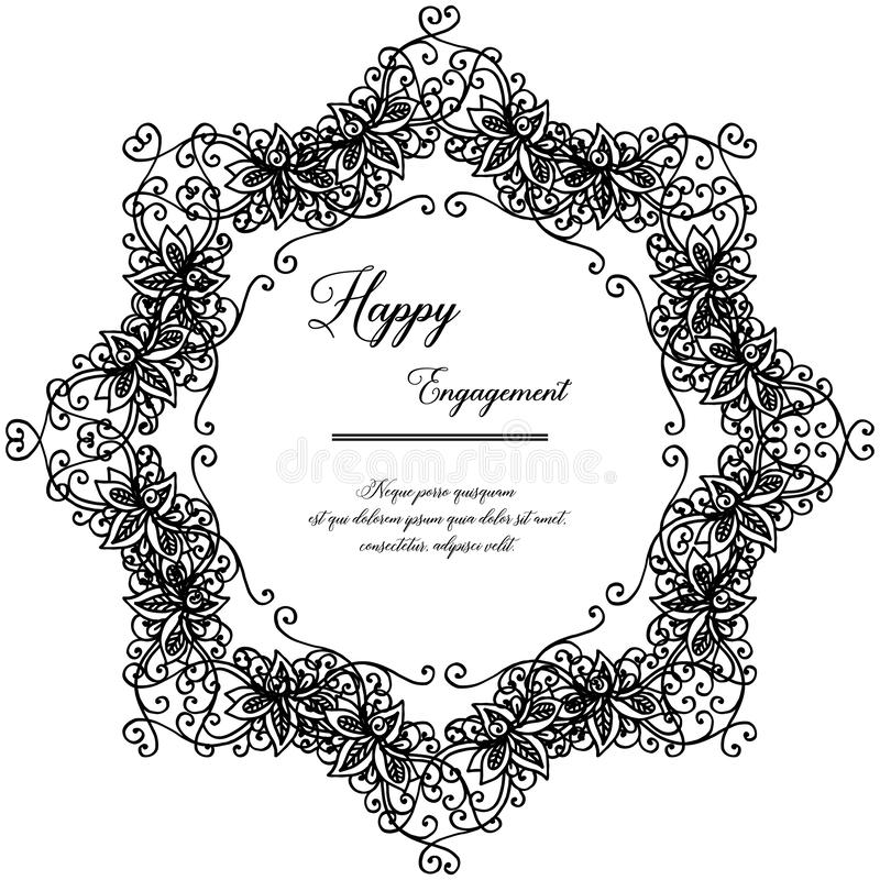 Ornamento del telaio del fiore, annata di stile, carta di progettazione dell'impegno felice Vettore illustrazione di stock