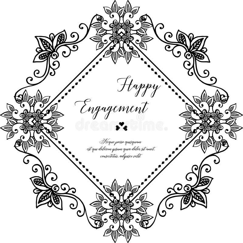 Ornamento del telaio del fiore, annata di stile, carta di progettazione dell'impegno felice Vettore illustrazione vettoriale