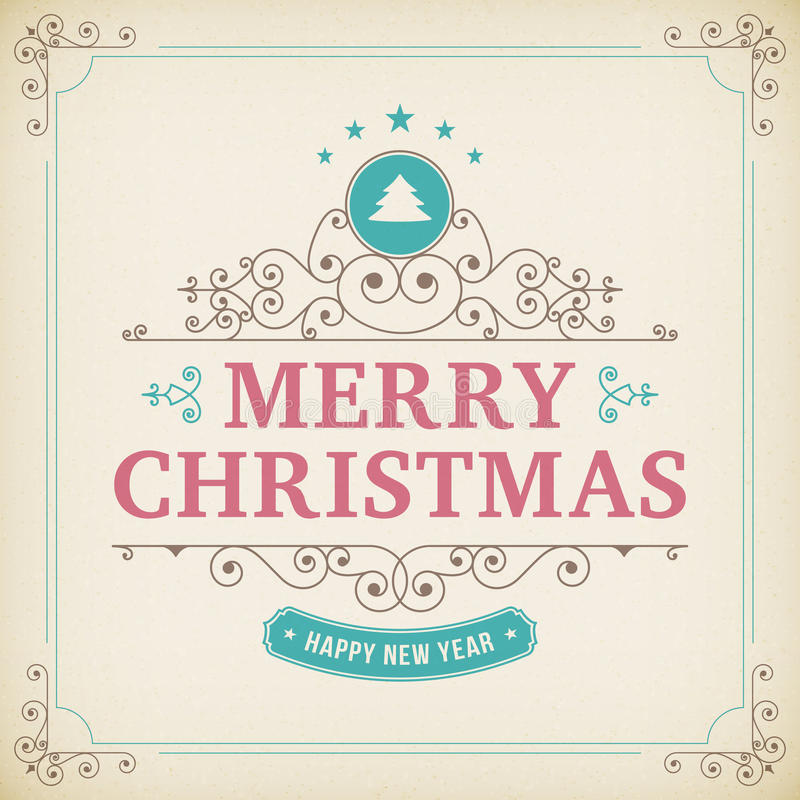 Ornamento del vintage de la Feliz Navidad en el fondo de papel libre illustration