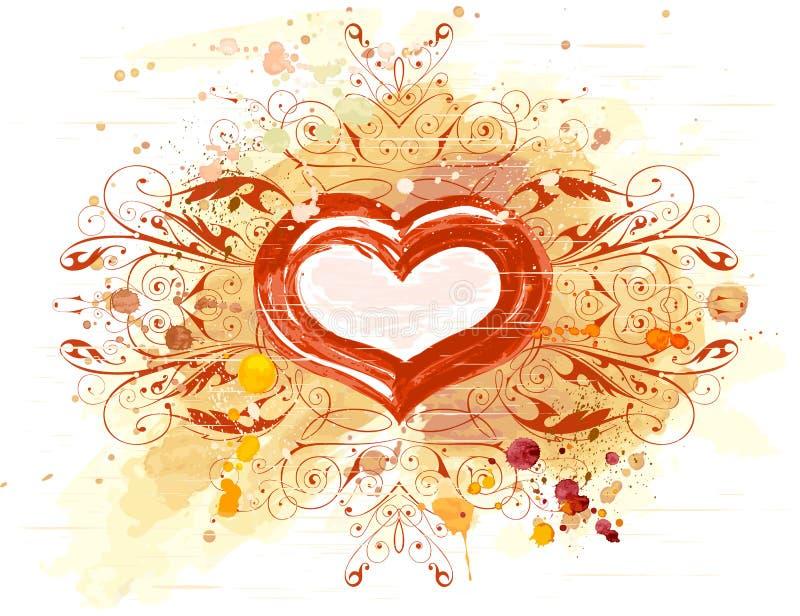 Ornamento dell'annata & del cuore illustrazione di stock
