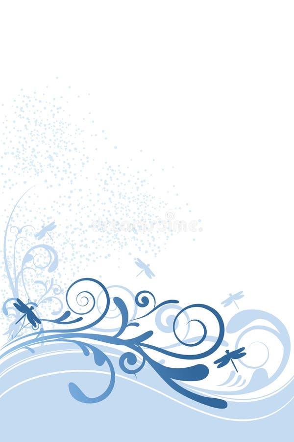 Ornamento dell'azzurro della priorità bassa della libellula illustrazione vettoriale