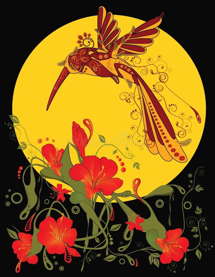 Ornamento dell'estratto di arte di schiocco con i fiori e l'uccello illustrazione di stock